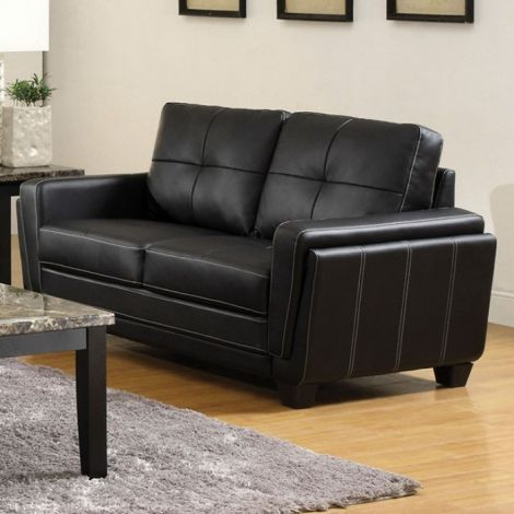 Awesome Heikoy Full Love Seat Black Leatherette Furniture Store Gamerscity Chair Design For Home Gamerscityorg