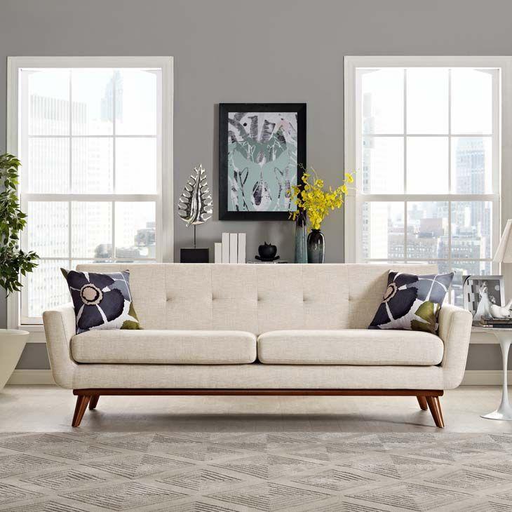 Zayden Beige Upholstery Fabric Sofa